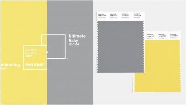 Image of 2021 Panton Colors of the Year: Illuminating and Ultimate Gray.  Illuminating is a pale yellow and Ultimate Gray is a light gray