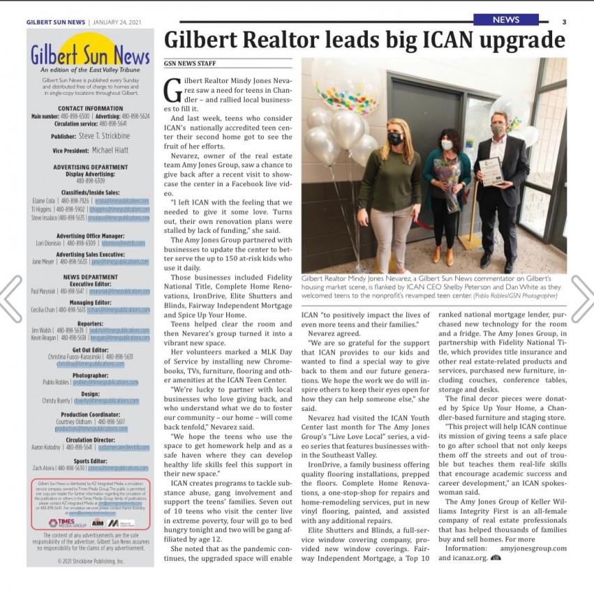 Gilbert Sun News - ICAN Teen Center