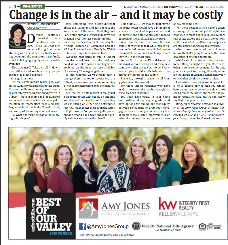Change is in the air - and it may be costly | Gilbert Sun News 08-18-2019