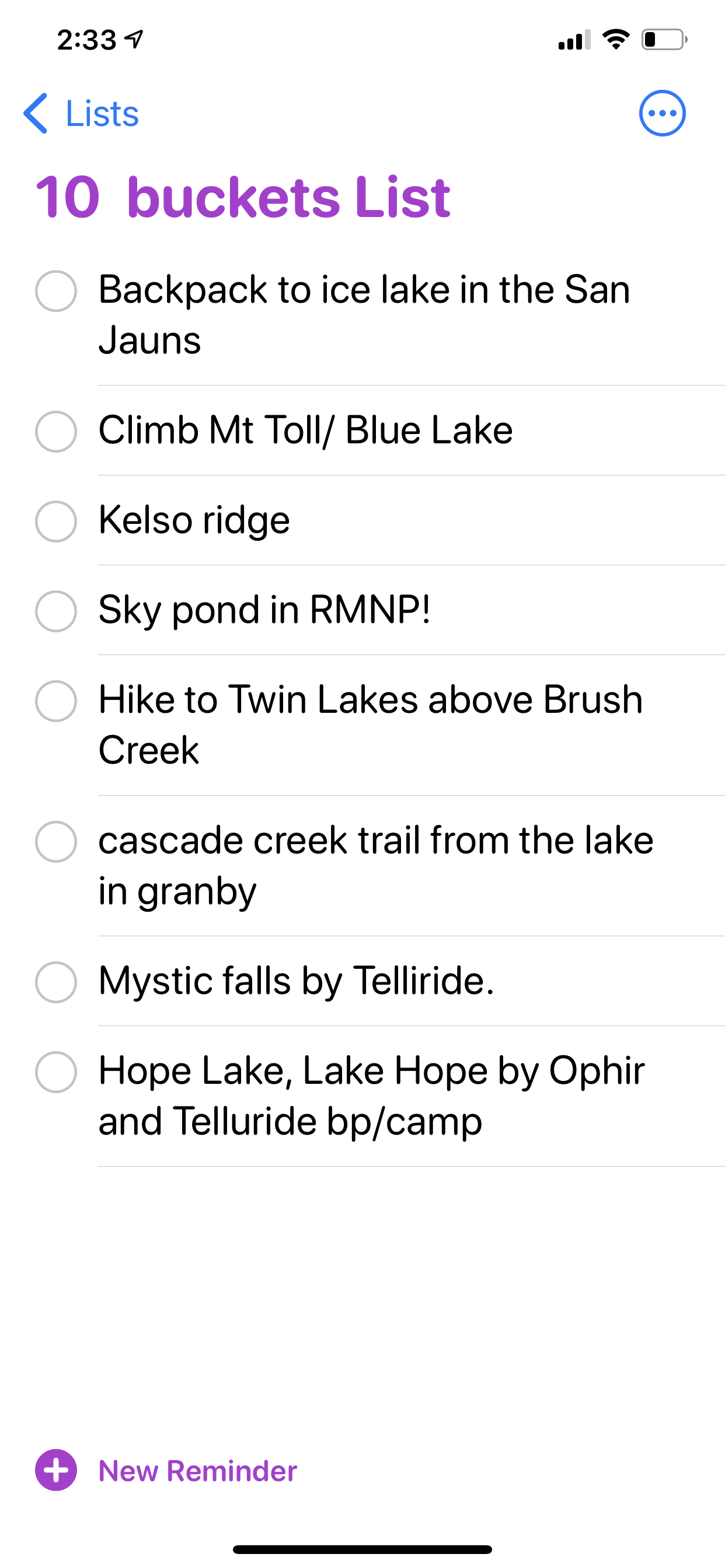 Bob Maiocco's Colorado Bucket List