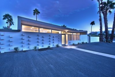 Exterior of Palm Springs home at night