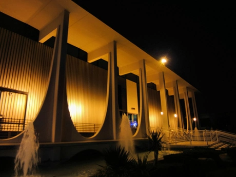 E. Stewart Williams' stunning design, now the Chase Bank, corner of S. Palm Canyon and Ramon Rd.