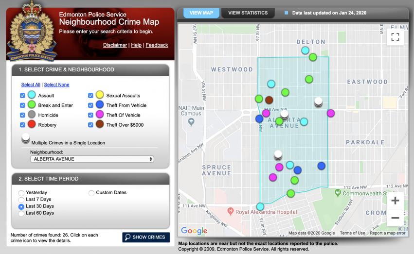 EPS Neighbourhood Crime Map