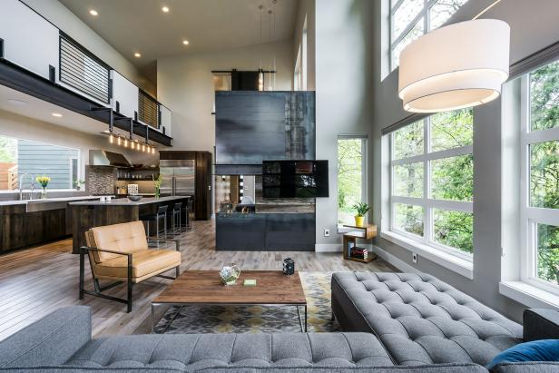 Great Room With Three-Sided Steel Fireplace