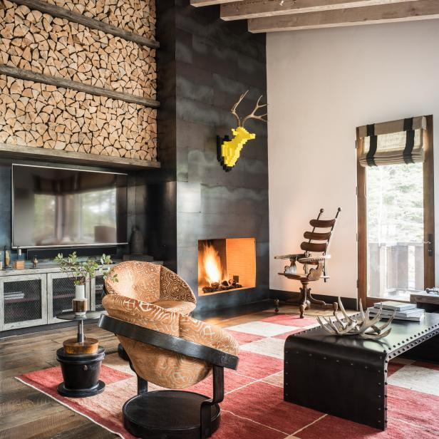 Living Room With Firewood