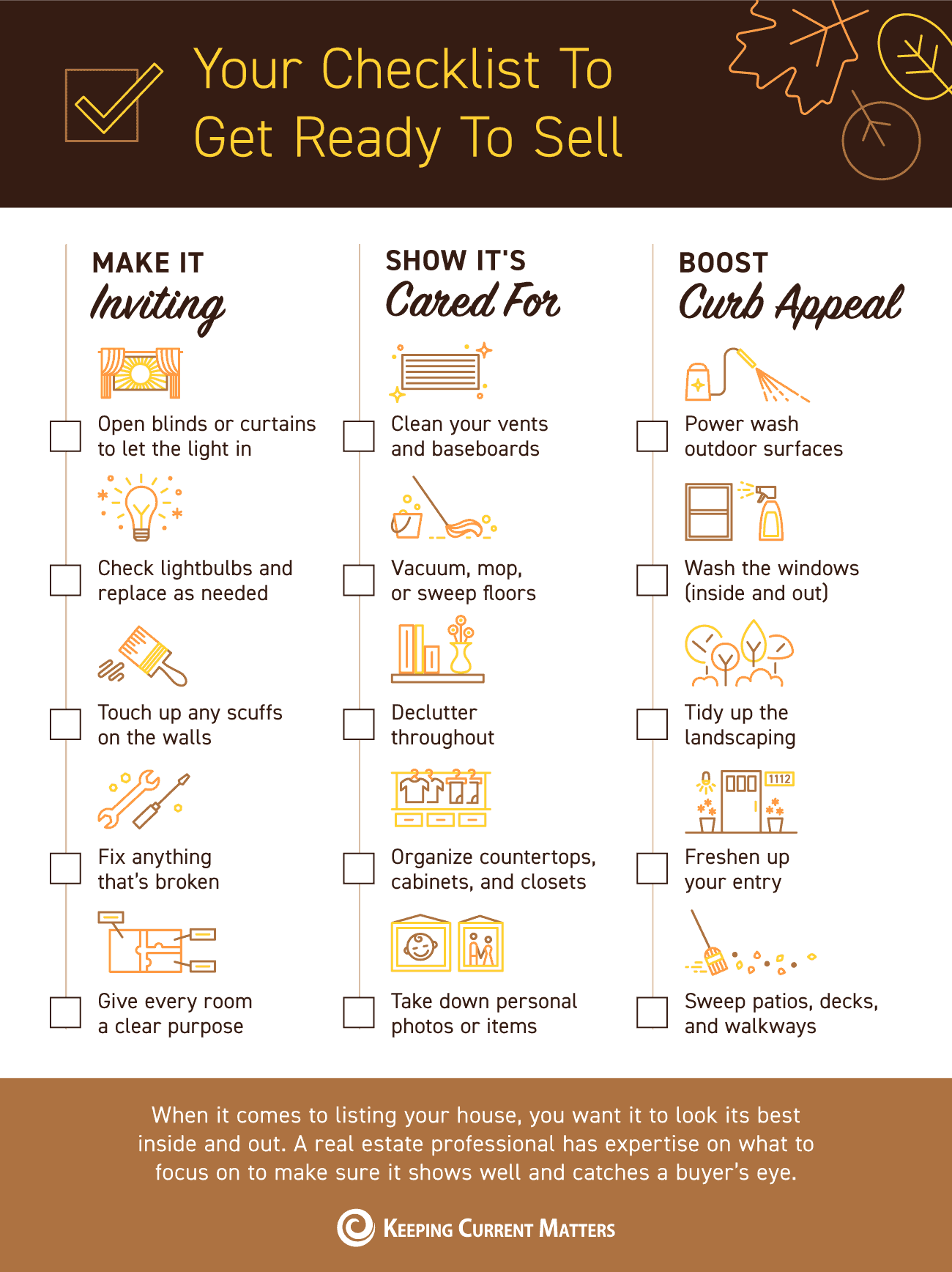 Your Checklist To Get Ready To Sell [INFOGRAPHIC]   Keeping Current Matters