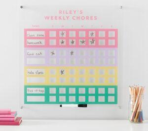 summer camp at home colorful chore chart
