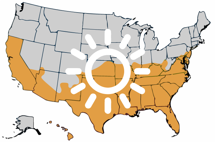map of the united states with warmer climates marked