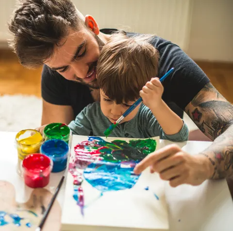 dad and son painting