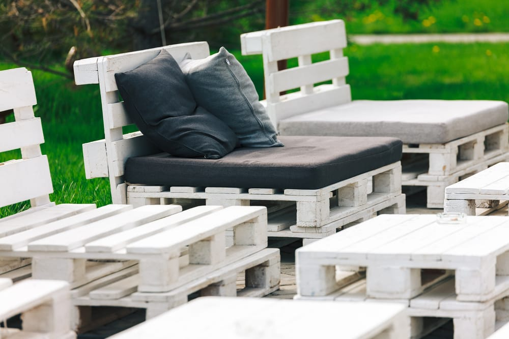 Provide extra seating with a wooden pallet sectional